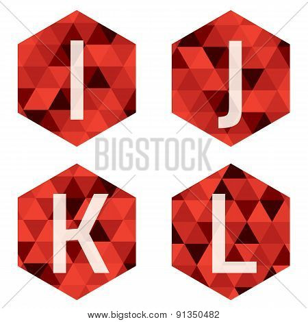 Modern Style White Alphabets On Red Hexagon Background.