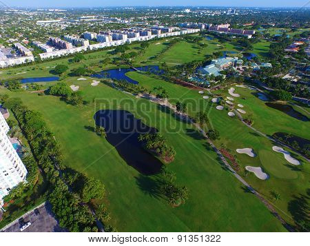 Aerial image of a golf course