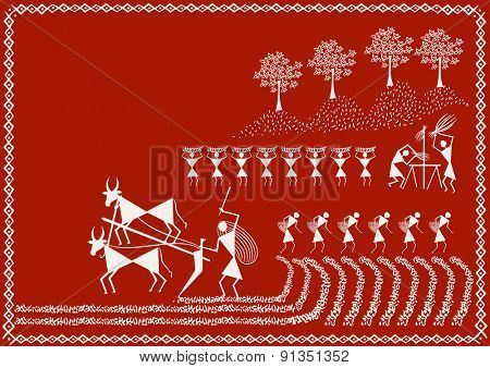 ' Indian Farming'  Ancient Indian Art - WARLI