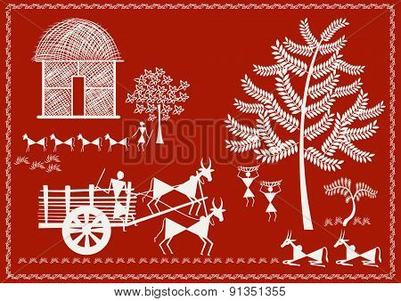' Vilage Life '  Ancient Indian Art - WARLI