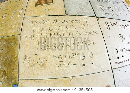 Handprints Of Marion Davies In Hollywood Boulevard In The Concrete Of Chinese Theatre's Forecourt