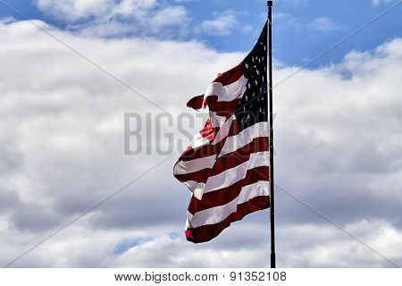 Us Flag Blowing In Wind