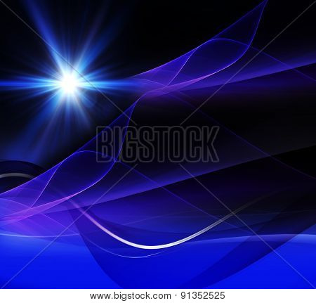 Realistic star burst with flare  blue background