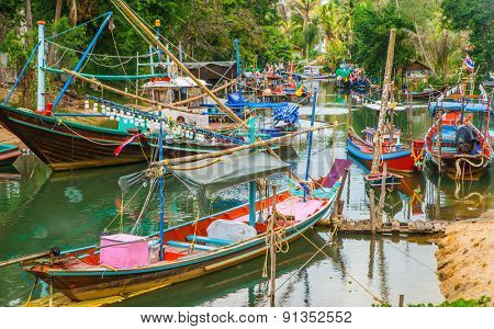 Traditional thai fishing boats