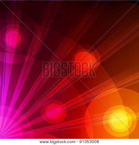 Red dynamic light on black background