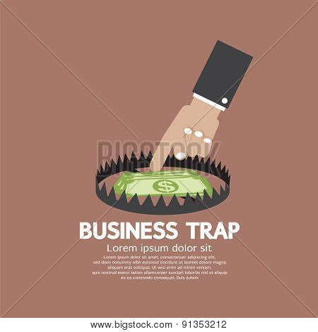 Hand With Banknote Business Trap Concept.