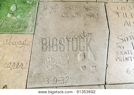 Eddie Cantors Handprints In Hollywood Boulevard In The Concrete Of Chinese Theatre's Forecourt