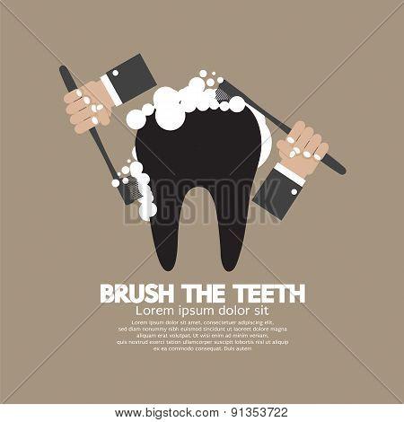 Hands Brushing The Teeth.