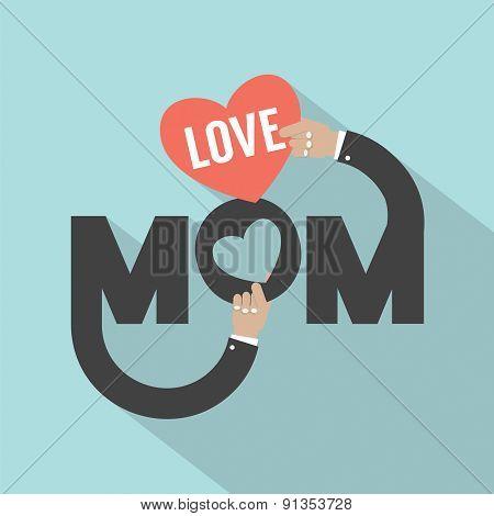 Love Mom Typography Design.
