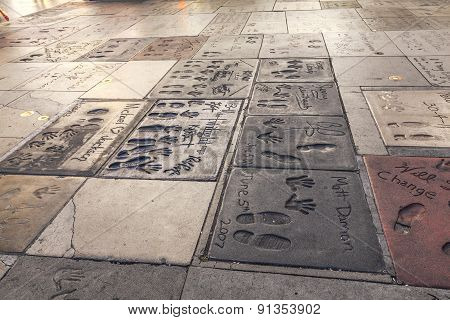 Handprints Of Matt Damon, Twilight, Michael Jackson In Hollywood Boulevard In The Concrete Of Chines