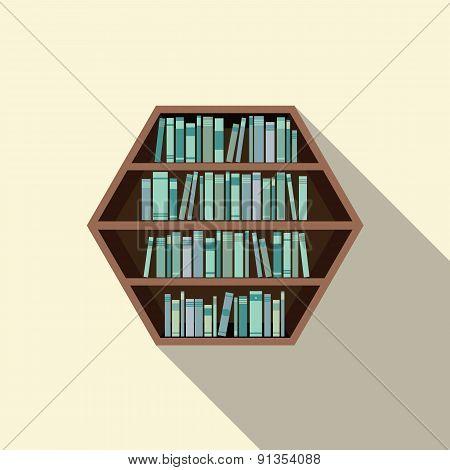 Hexagon Bookshelf On Wall.