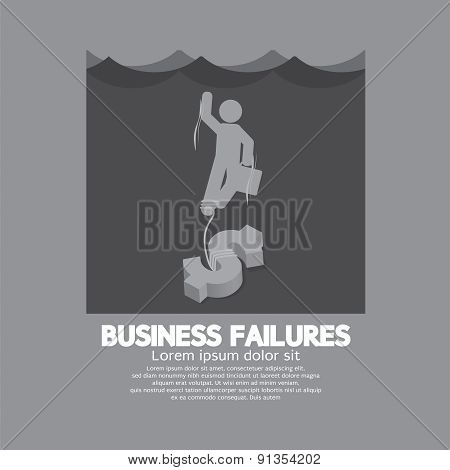 Businessman Drowning In The Water Business Failures Concept.