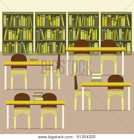 Empty Reading Seats In A Library.