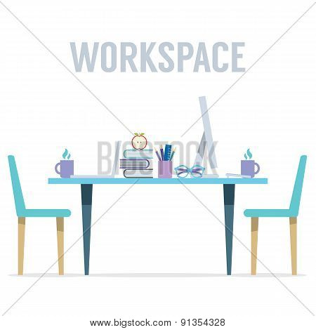 Flat Design Two Sides Workspace.