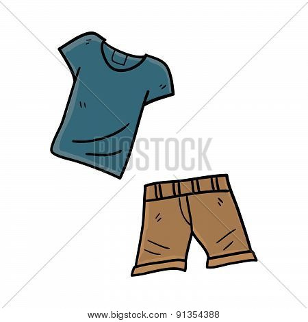Shirt With Shorts Hand Drawn Vector Illustration