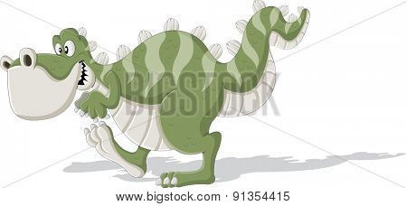 Cartoon tyrannosaur. Cute trex dinosaur walking.