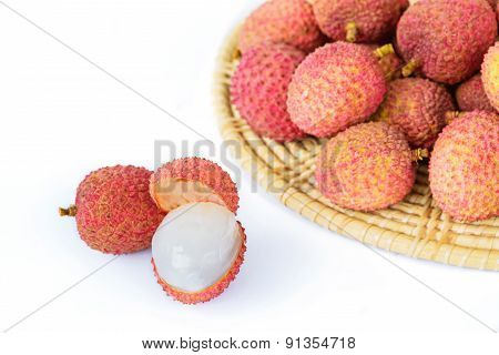 Fresh Lychees Isolated On White Background