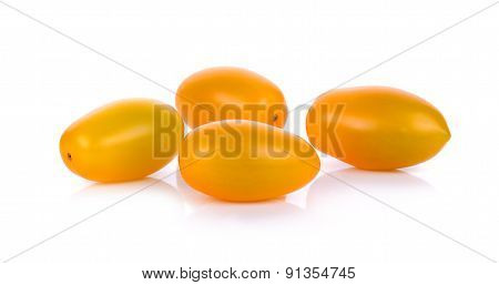Yellow Cherry Tomato Isolated On The White Background