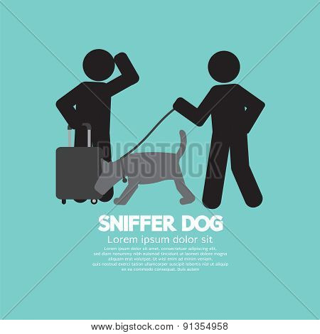 Sniffer Dog Smell At Traveller's Luggage.