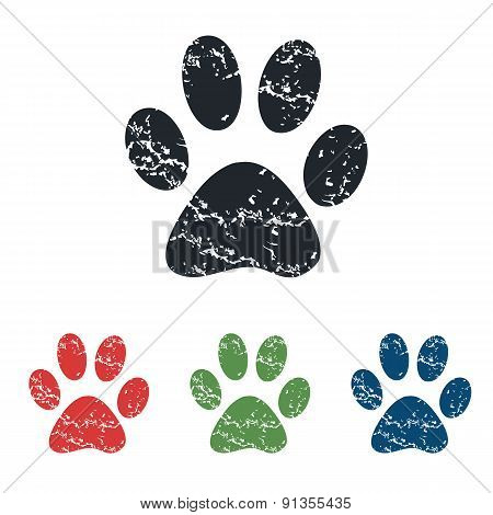 Paw grunge icon set