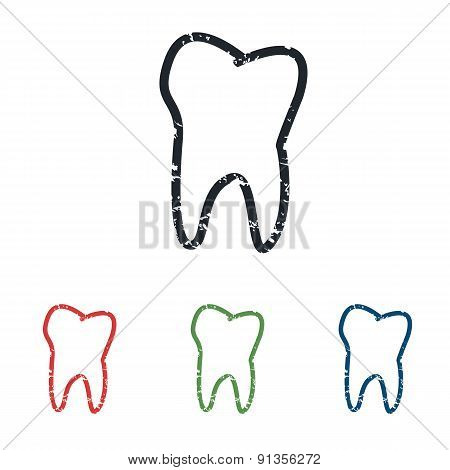 Tooth grunge icon set
