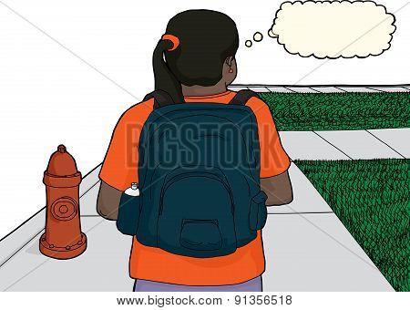 Hispanic Female Student On Sidewalk