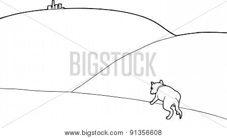 Outline Of Dog Looking At City