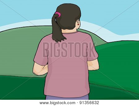 Woman Looking Over Green Hills