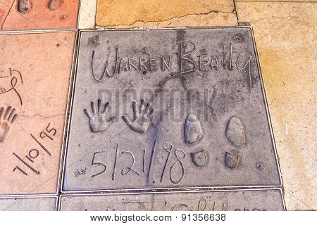Handprints  Of Warren Beatty In Hollywood Boulevard In The Concrete Of Chinese Theatre's Forecourt