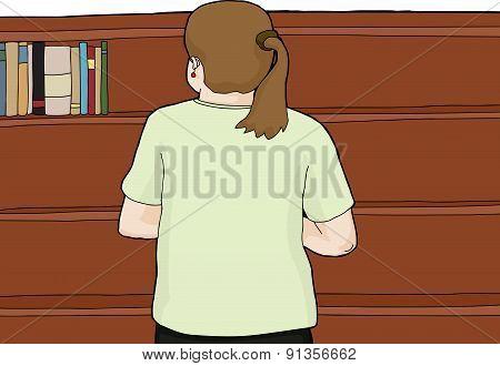Caucasian Woman At Bookshelf