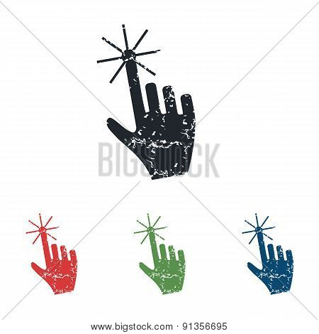 Hand cursor grunge icon set