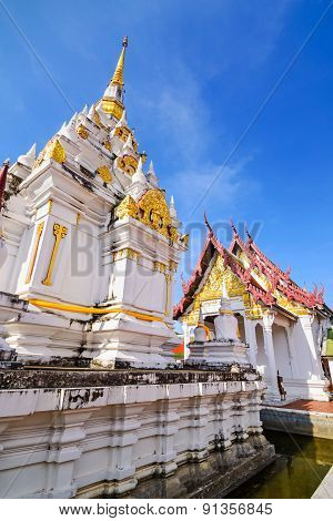 Wat Phrathat Chaiya Worawihan Public ancient temple Surat Thani province Thailand.