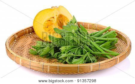 Pumpkin And Leaf  On Wicker Tray Isolated