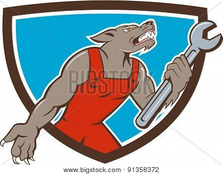 Wolf Mechanic Spanner Shield Cartoon