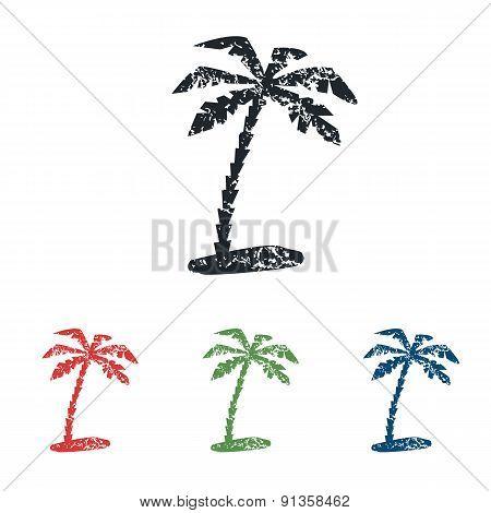 Palm grunge icon set