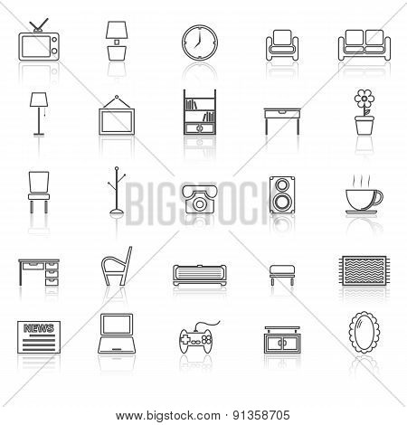 Living Room Line Icons With Reflect On White