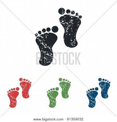 Footprint grunge icon set