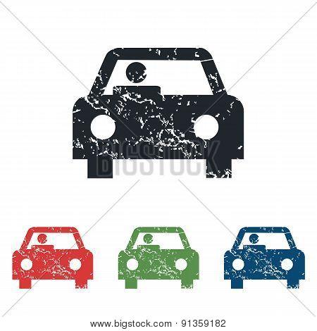 Car grunge icon set