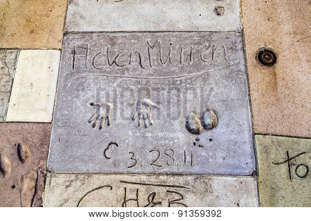 Handprints Of Helen Miller In Hollywood Boulevard In The Concrete Of Chinese Theatre's Forecourt