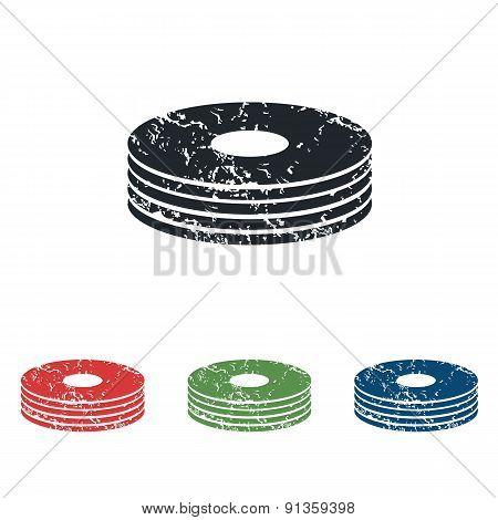 Disc pile grunge icon set