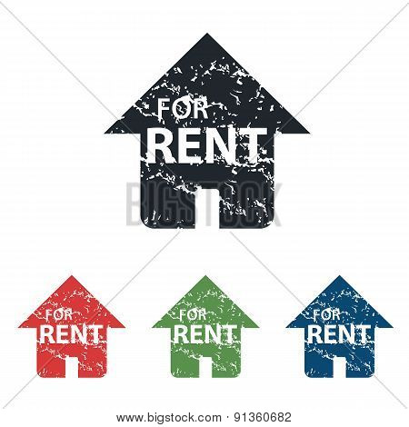 FOR RENT grunge icon set