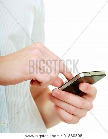 Mobile phone on hand, isolated on white background