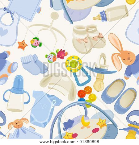 Seamless pattern with colorful baby items for newborn boy