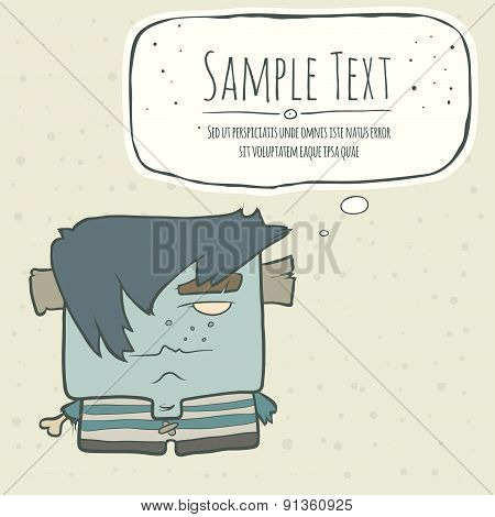 Illustration hand drawn cartoon boy zombie in a striped vest. Speech bubble.
