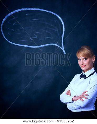 Smiling thinking girl looking with empty bubble