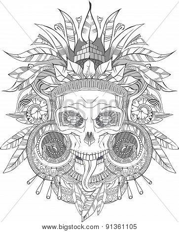 Aztec Indian Skull