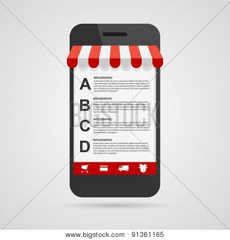 Business Options Infographic Template. Mobile Online Shopping. Colorful Design Elements. Vector Illu