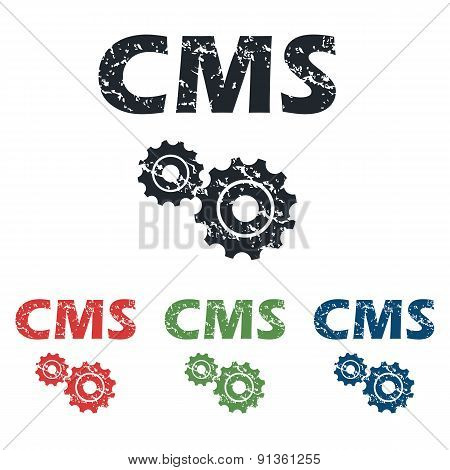 CMS settings grunge icon set