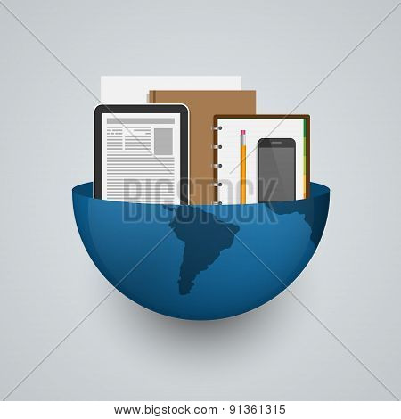 Business Planet Earth With Office Supplies. Creative Concept. Vector Illustration.