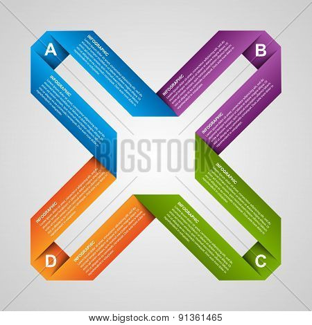 Abstract paper options infographic. Design element.